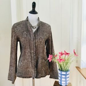 CHICO'S Taupe Floral Ruffle Trim Blazer Jacket